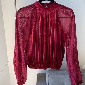 Free People Dream Team Velvet Top - Raspberry